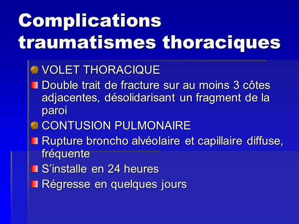 COMPLICATIONS traumatismes thoraciques HEMATOME PULMONAIRE Hémorragie collectée dans une cavité pulmonaire suite à une dilacération du parenchyme pulmonaire PNEUMATOCELE