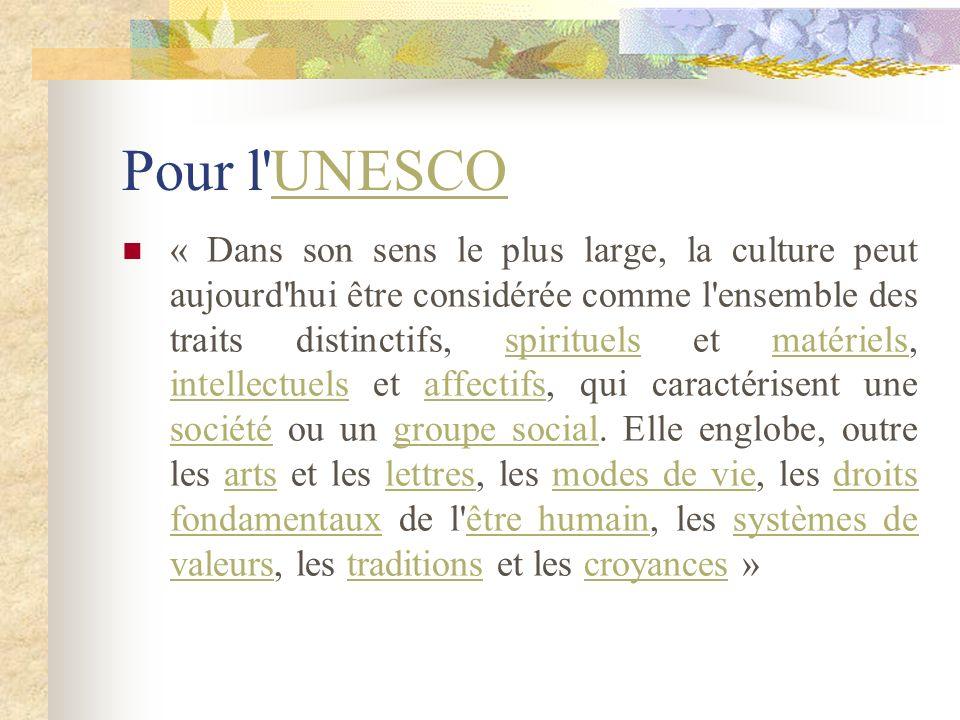 Pour l'UNESCO UNESCO « Dans son sens le plus large, la culture peut aujourd'hui être considérée comme l'ensemble des traits distinctifs, spirituels et