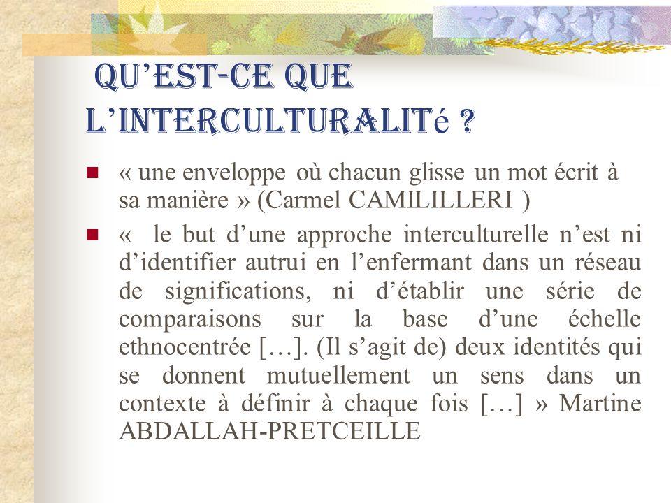 Qu est-ce que l interculturalit é ? « une enveloppe où chacun glisse un mot écrit à sa manière » (Carmel CAMILILLERI ) « le but dune approche intercul