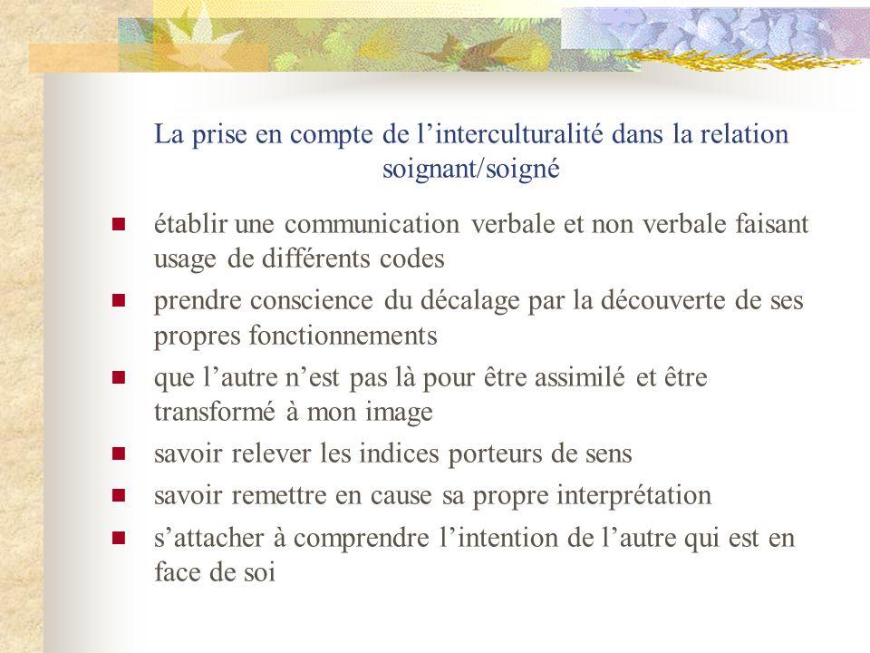 La prise en compte de linterculturalité dans la relation soignant/soigné établir une communication verbale et non verbale faisant usage de différents