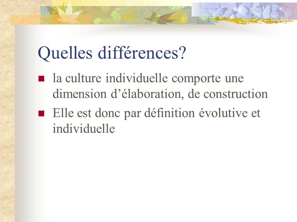 Quelles différences? la culture individuelle comporte une dimension délaboration, de construction Elle est donc par définition évolutive et individuel