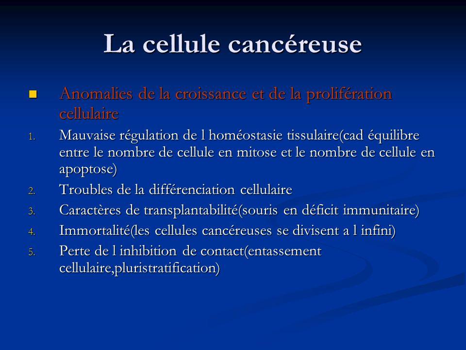La cellule cancéreuse Anomalies de la croissance et de la prolifération cellulaire Anomalies de la croissance et de la prolifération cellulaire 1. Mau