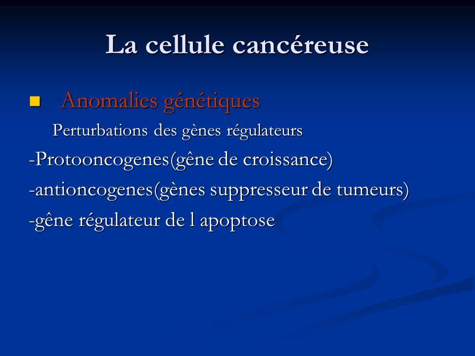 La cellule cancéreuse Anomalies génétiques Anomalies génétiques Perturbations des gènes régulateurs -Protooncogenes(gêne de croissance) -antioncogenes