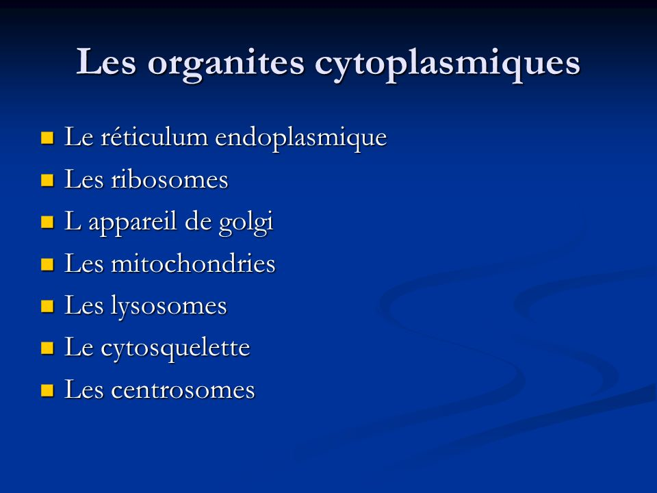 Les organites cytoplasmiques Le réticulum endoplasmique Le réticulum endoplasmique Les ribosomes Les ribosomes L appareil de golgi L appareil de golgi