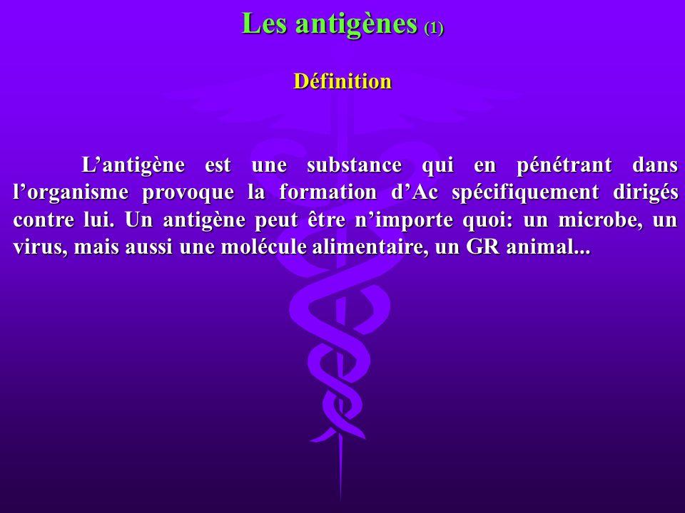 Les antigènes (1) Définition Lantigène est une substance qui en pénétrant dans lorganisme provoque la formation dAc spécifiquement dirigés contre lui.