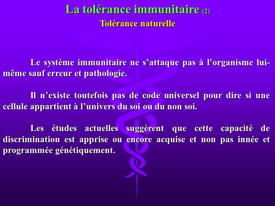 Le système immunitaire ne sattaque pas à lorganisme lui- même sauf erreur et pathologie. Il nexiste toutefois pas de code universel pour dire si une c