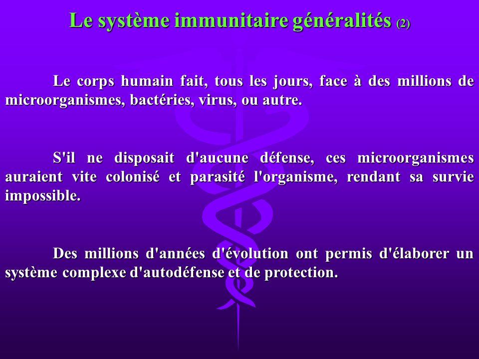 Le corps humain fait, tous les jours, face à des millions de microorganismes, bactéries, virus, ou autre. S'il ne disposait d'aucune défense, ces micr