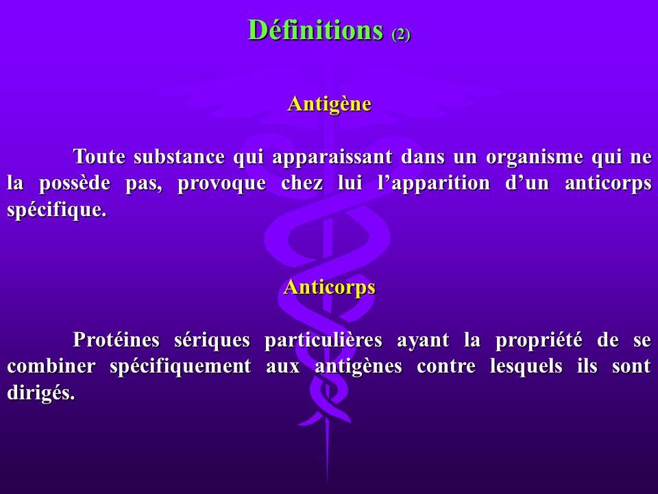 Antigène Toute substance qui apparaissant dans un organisme qui ne la possède pas, provoque chez lui lapparition dun anticorps spécifique. Anticorps P