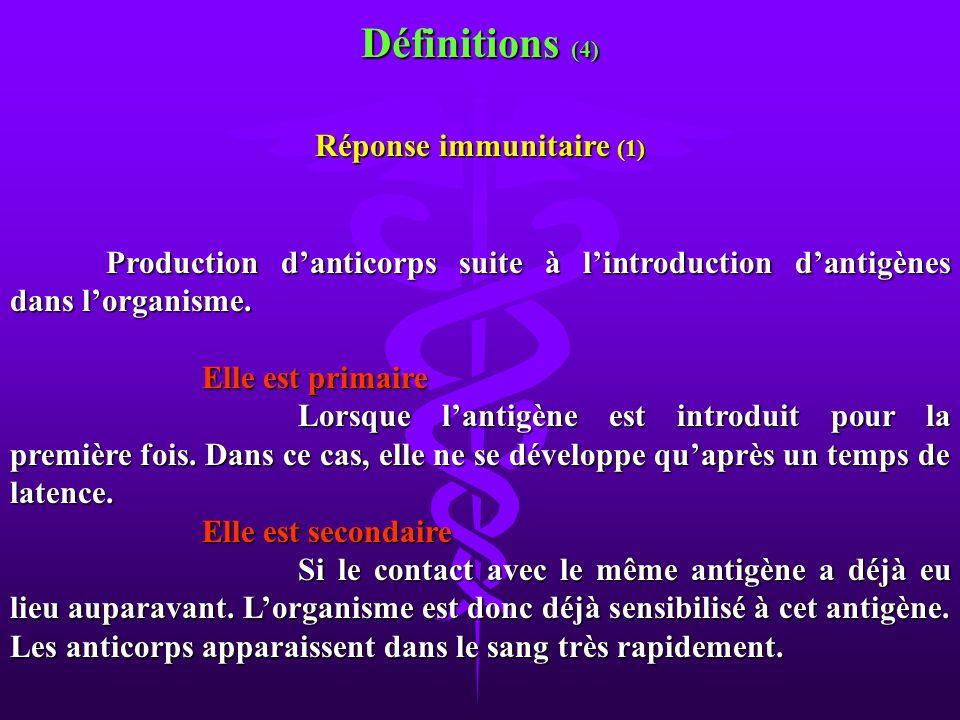 Production danticorps suite à lintroduction dantigènes dans lorganisme. Elle est primaire Lorsque lantigène est introduit pour la première fois. Dans