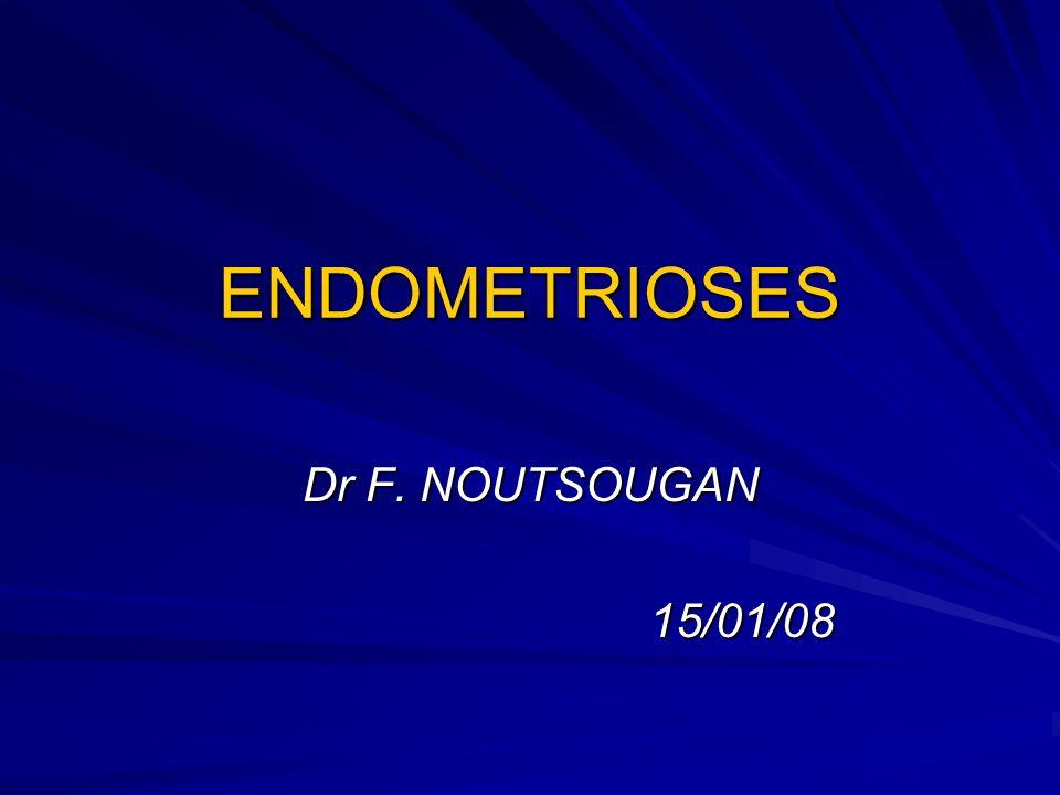 Généralités Définition: Présence de tissu endométrial en dehors de la cavité utérine Distinction entre endométriose externe et endométriose interne (adénomyose) Fréquence: 1 à 2% de la pop générale, 10% des femmes de 30 à 40 ans.