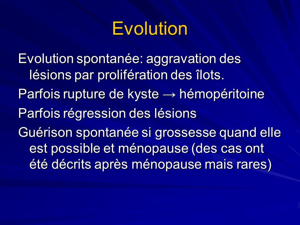 Evolution Evolution spontanée: aggravation des lésions par prolifération des îlots. Parfois rupture de kyste hémopéritoine Parfois régression des lési