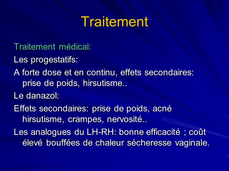 Traitement Traitement médical: Les progestatifs: A forte dose et en continu, effets secondaires: prise de poids, hirsutisme.. Le danazol: Effets secon