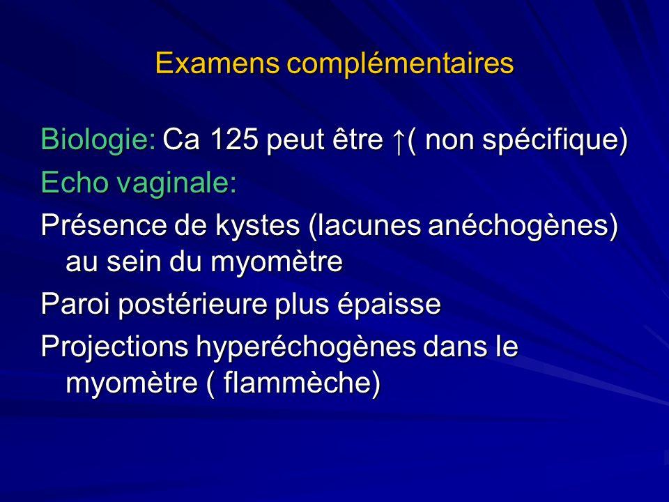 Examens complémentaires Biologie: Ca 125 peut être ( non spécifique) Echo vaginale: Présence de kystes (lacunes anéchogènes) au sein du myomètre Paroi