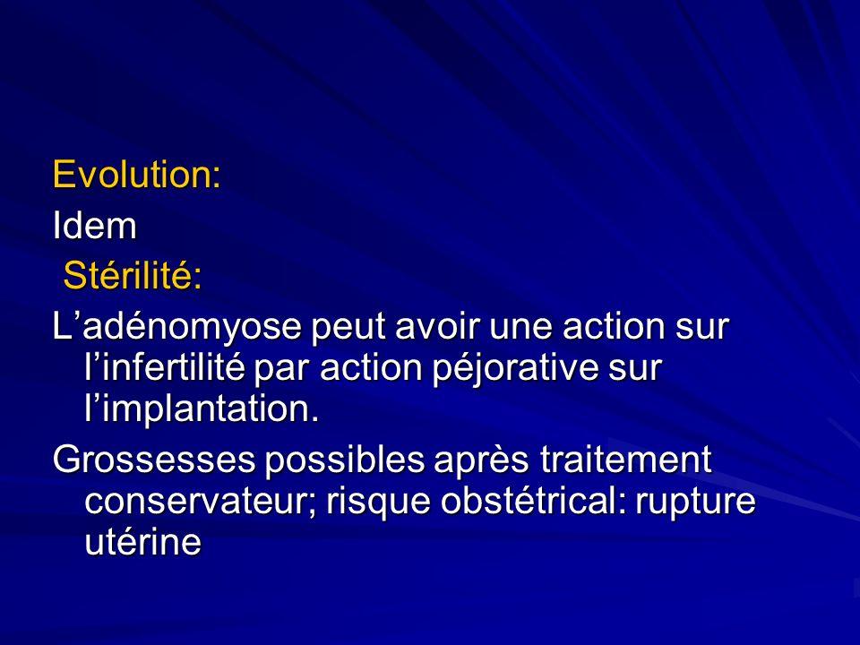 Evolution:Idem Stérilité: Stérilité: Ladénomyose peut avoir une action sur linfertilité par action péjorative sur limplantation. Grossesses possibles