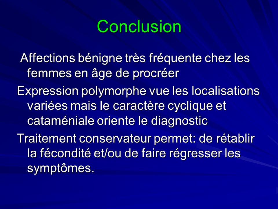 Conclusion Affections bénigne très fréquente chez les femmes en âge de procréer Affections bénigne très fréquente chez les femmes en âge de procréer E