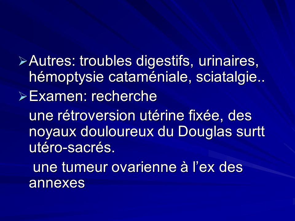 Autres: troubles digestifs, urinaires, hémoptysie cataméniale, sciatalgie.. Autres: troubles digestifs, urinaires, hémoptysie cataméniale, sciatalgie.
