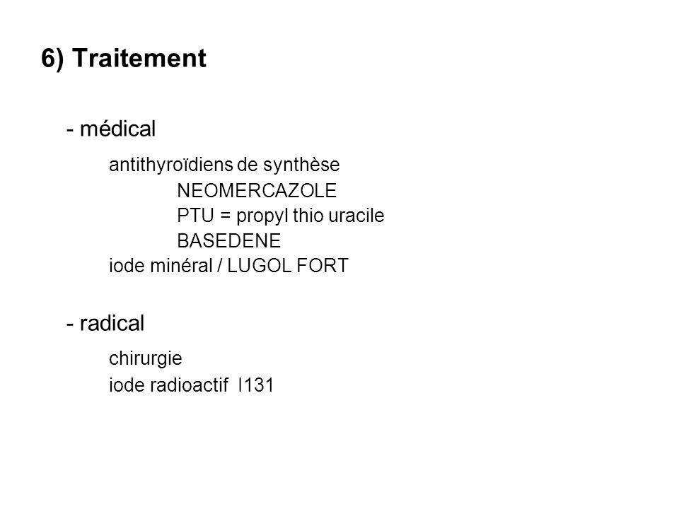 6) Traitement - médical antithyroïdiens de synthèse NEOMERCAZOLE PTU = propyl thio uracile BASEDENE iode minéral / LUGOL FORT - radical chirurgie iode