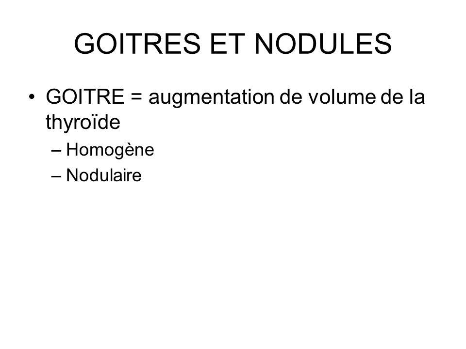 GOITRES ET NODULES GOITRE = augmentation de volume de la thyroïde –Homogène –Nodulaire