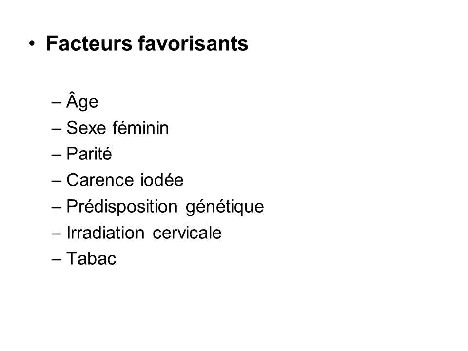 Facteurs favorisants –Âge –Sexe féminin –Parité –Carence iodée –Prédisposition génétique –Irradiation cervicale –Tabac