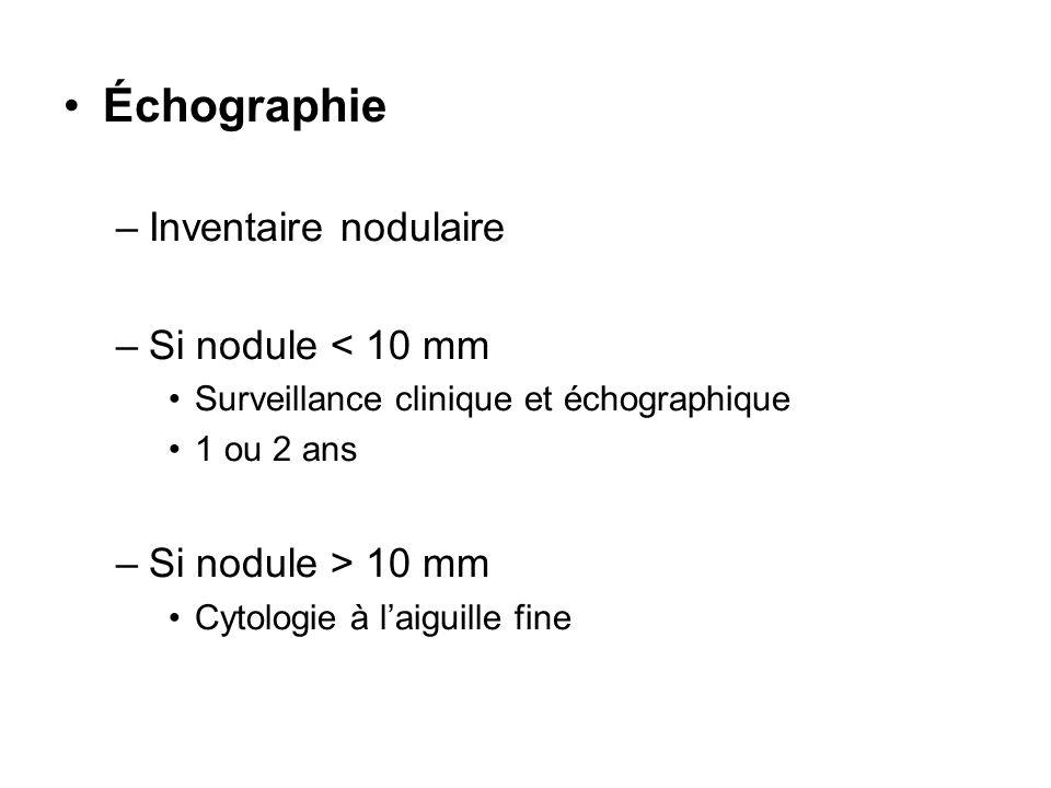 Échographie –Inventaire nodulaire –Si nodule < 10 mm Surveillance clinique et échographique 1 ou 2 ans –Si nodule > 10 mm Cytologie à laiguille fine