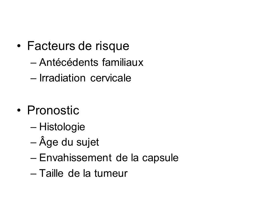Facteurs de risque –Antécédents familiaux –Irradiation cervicale Pronostic –Histologie –Âge du sujet –Envahissement de la capsule –Taille de la tumeur