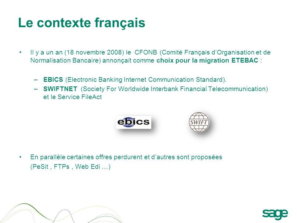 Le contexte français Il y a un an (18 novembre 2008) le CFONB (Comité Français dOrganisation et de Normalisation Bancaire) annonçait comme choix pour