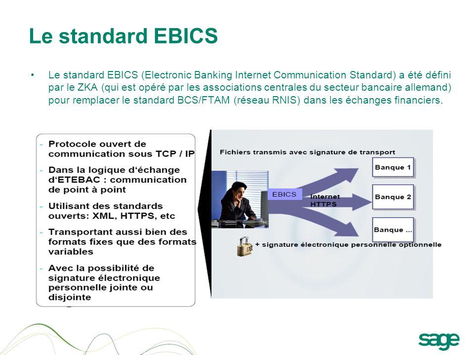 Le standard EBICS Le standard EBICS (Electronic Banking Internet Communication Standard) a été défini par le ZKA (qui est opéré par les associations c