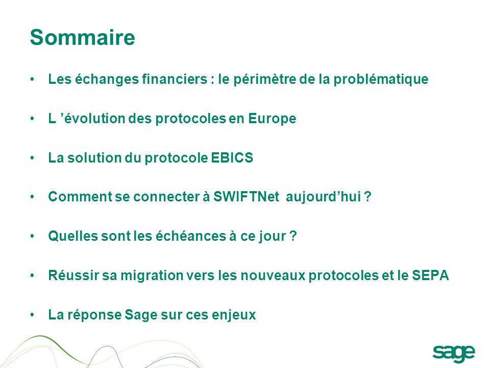 Sommaire Les échanges financiers : le périmètre de la problématique L évolution des protocoles en Europe La solution du protocole EBICS Comment se con