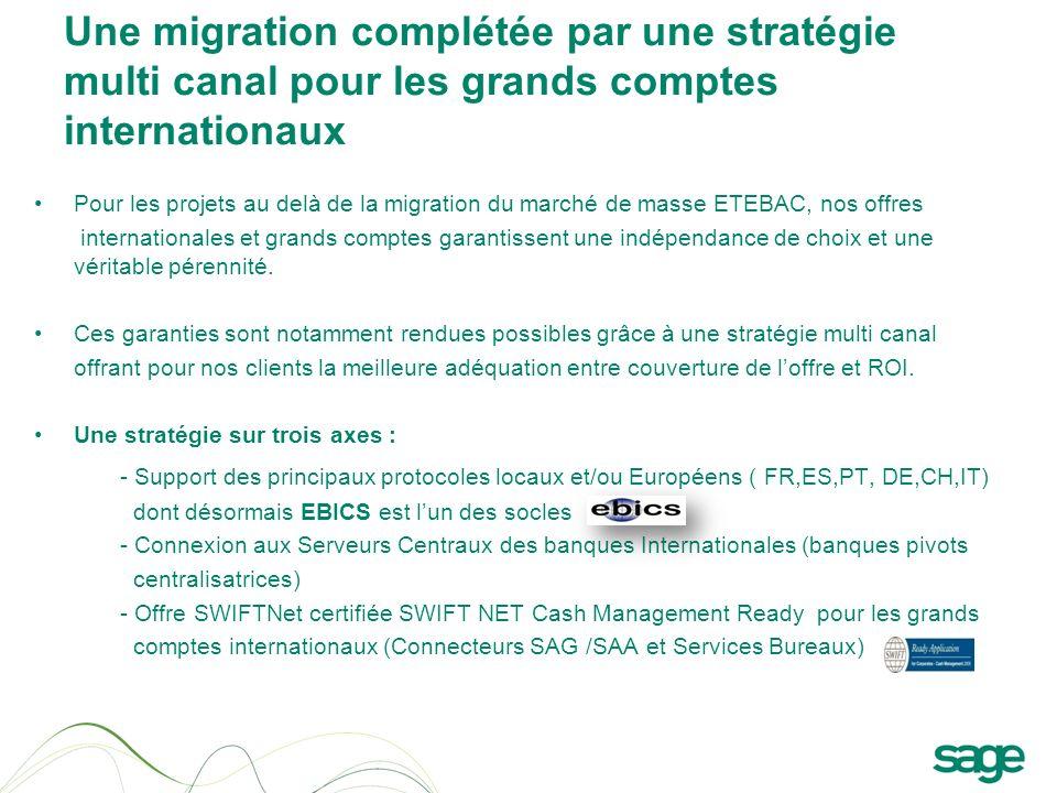 Une migration complétée par une stratégie multi canal pour les grands comptes internationaux Pour les projets au delà de la migration du marché de mas