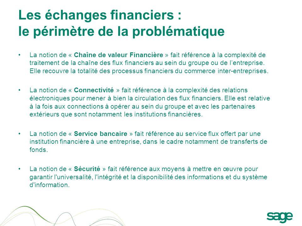 Les échanges financiers : le périmètre de la problématique La notion de « Chaîne de valeur Financière » fait référence à la complexité de traitement d