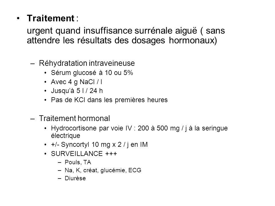 Traitement : urgent quand insuffisance surrénale aiguë ( sans attendre les résultats des dosages hormonaux) –Réhydratation intraveineuse Sérum glucosé