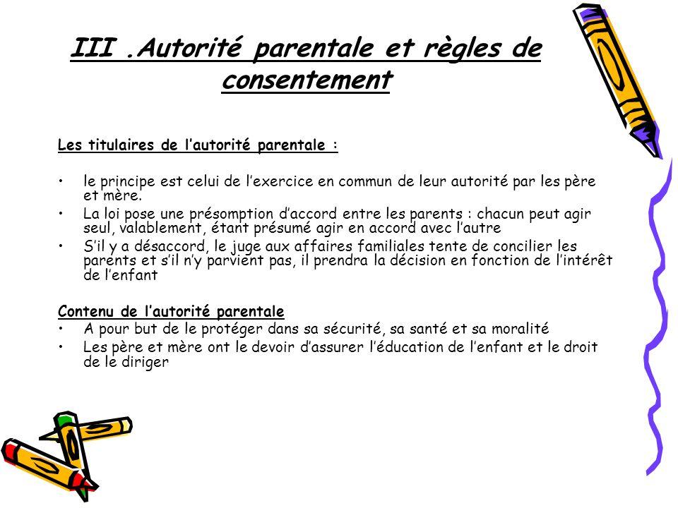 III.Autorité parentale et règles de consentement Les titulaires de lautorité parentale : le principe est celui de lexercice en commun de leur autorité