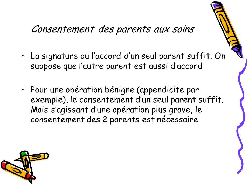 Consentement des parents aux soins La signature ou laccord dun seul parent suffit. On suppose que lautre parent est aussi daccord Pour une opération b