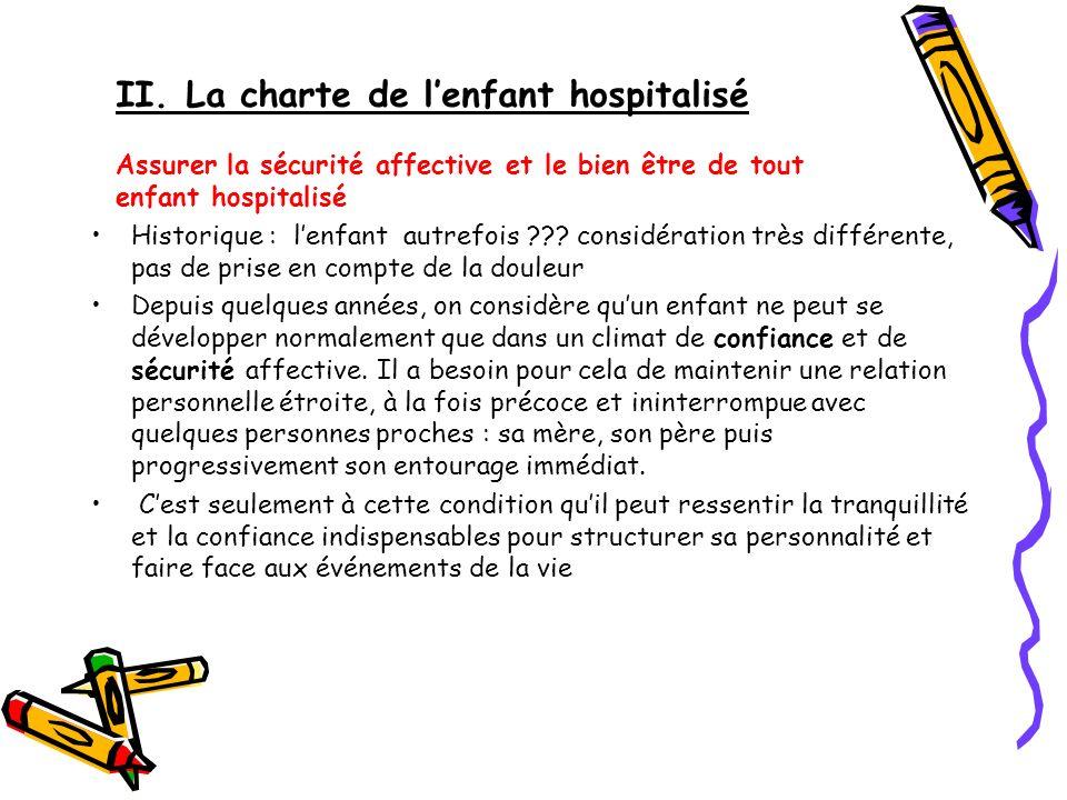 II. La charte de lenfant hospitalisé Assurer la sécurité affective et le bien être de tout enfant hospitalisé Historique : lenfant autrefois ??? consi