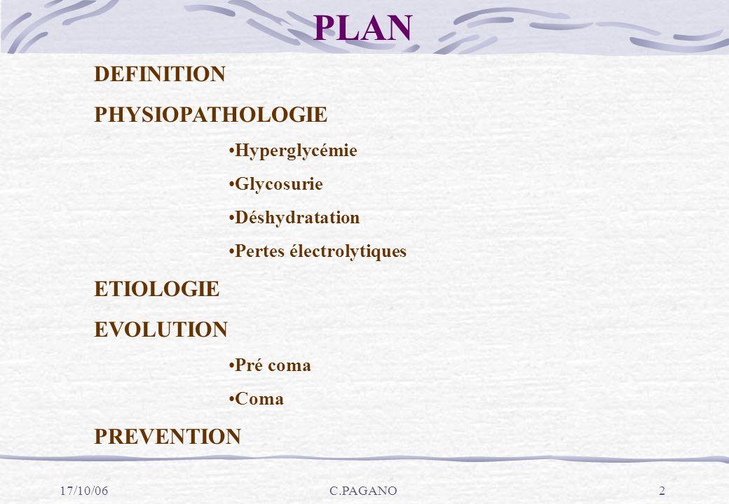 17/10/06C.PAGANO3 ACIDOSE : concentration excessive d acide dans le plasma sanguin et les liquides interstitiels (liquides dans lesquels baignent les cellules, à l exclusion du sang).