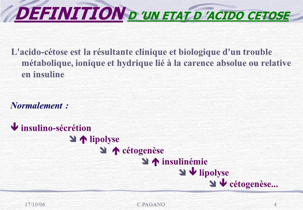 17/10/06C.PAGANO15 1-PHASE DE DEBUT : Cétose sans acidose PRECOMA Très courte (sujet jeune et femme enceinte)