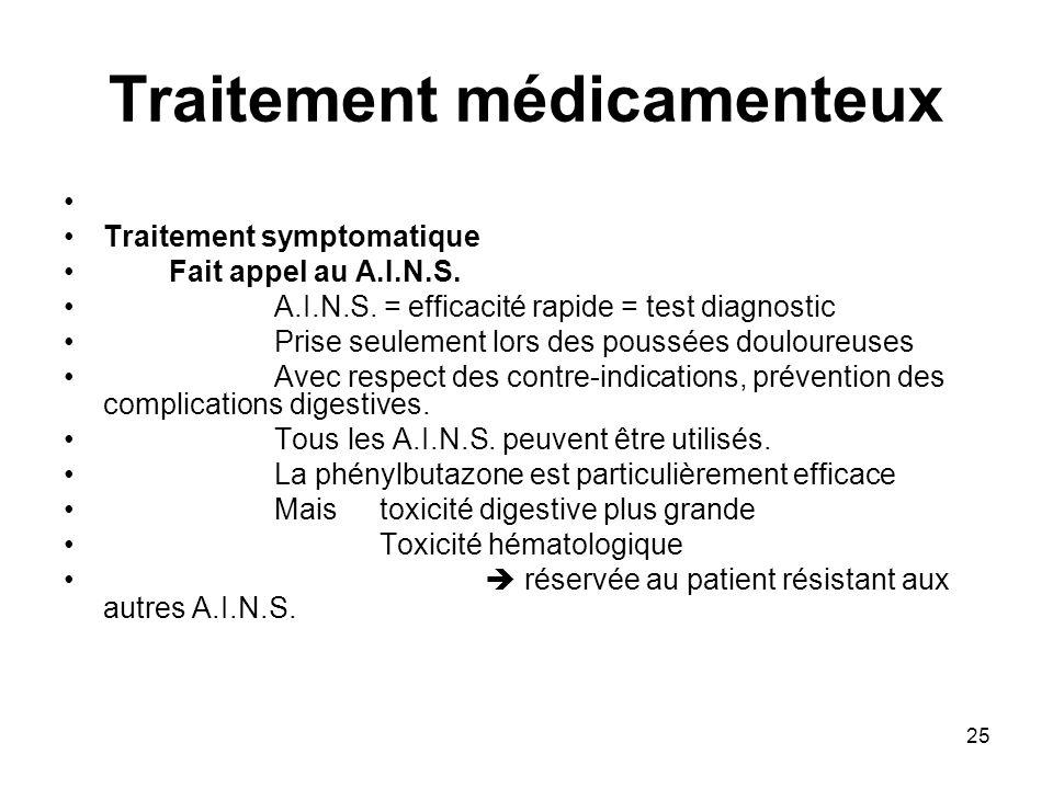 25 Traitement médicamenteux Traitement symptomatique Fait appel au A.I.N.S. A.I.N.S. = efficacité rapide = test diagnostic Prise seulement lors des po