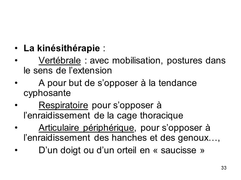 33 La kinésithérapie : Vertébrale : avec mobilisation, postures dans le sens de lextension A pour but de sopposer à la tendance cyphosante Respiratoir