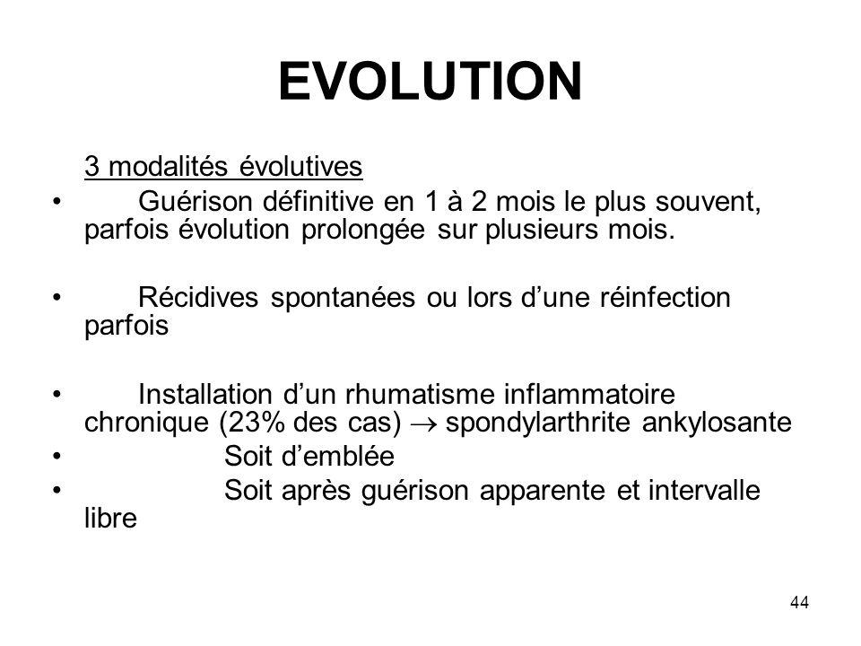 44 EVOLUTION 3 modalités évolutives Guérison définitive en 1 à 2 mois le plus souvent, parfois évolution prolongée sur plusieurs mois. Récidives spont