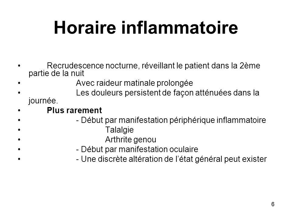 37 Signes cliniques Rhumatisme psoriasique axial Atteinte bilatérale et symétrique des sacro-iliaques dans 20 à 40 % des cas de rhumatisme psoriasique Spondylarthrite ankylosante dans 5% des cas.