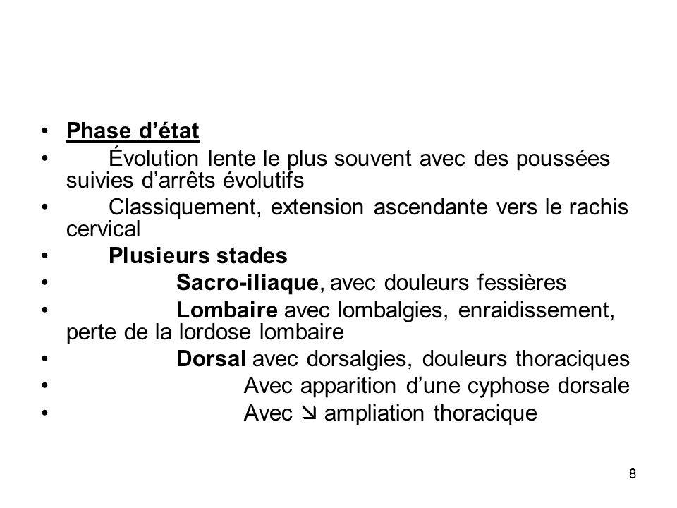 8 Phase détat Évolution lente le plus souvent avec des poussées suivies darrêts évolutifs Classiquement, extension ascendante vers le rachis cervical