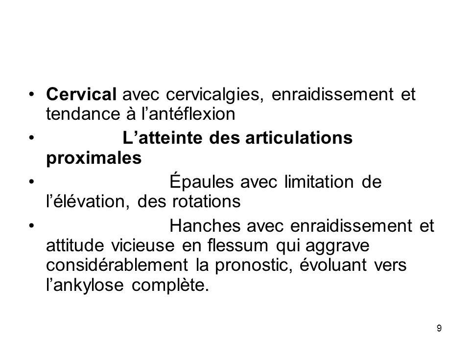 9 Cervical avec cervicalgies, enraidissement et tendance à lantéflexion Latteinte des articulations proximales Épaules avec limitation de lélévation,