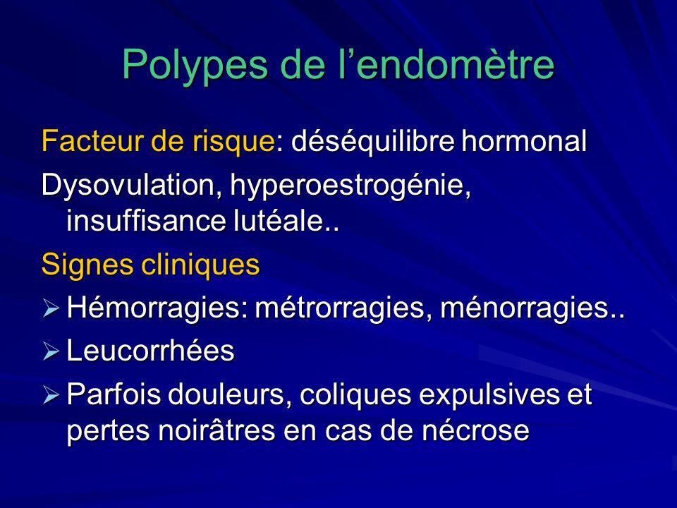 Asymptomatiques: 6 à 10 % des cas, découverte au cours dune écho, hystéroscopie, examen de pièce dhystérectomie Asymptomatiques: 6 à 10 % des cas, découverte au cours dune écho, hystéroscopie, examen de pièce dhystérectomie Association possible avec fibrome, adénomyose, cancer de lendomètre après la ménopause: 10-15 %( polype sentinelle) Association possible avec fibrome, adénomyose, cancer de lendomètre après la ménopause: 10-15 %( polype sentinelle)
