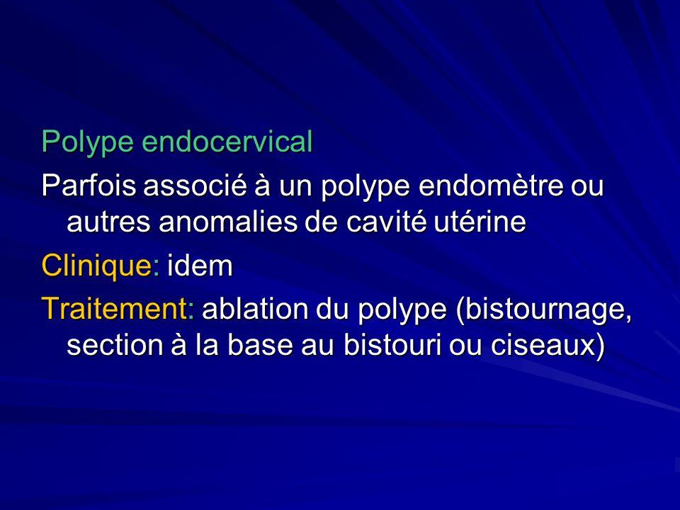 Polype endocervical Parfois associé à un polype endomètre ou autres anomalies de cavité utérine Clinique: idem Traitement: ablation du polype (bistour