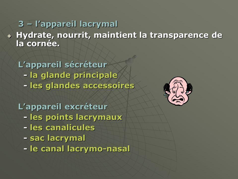 3 – lappareil lacrymal 3 – lappareil lacrymal Hydrate, nourrit, maintient la transparence de la cornée. Hydrate, nourrit, maintient la transparence de