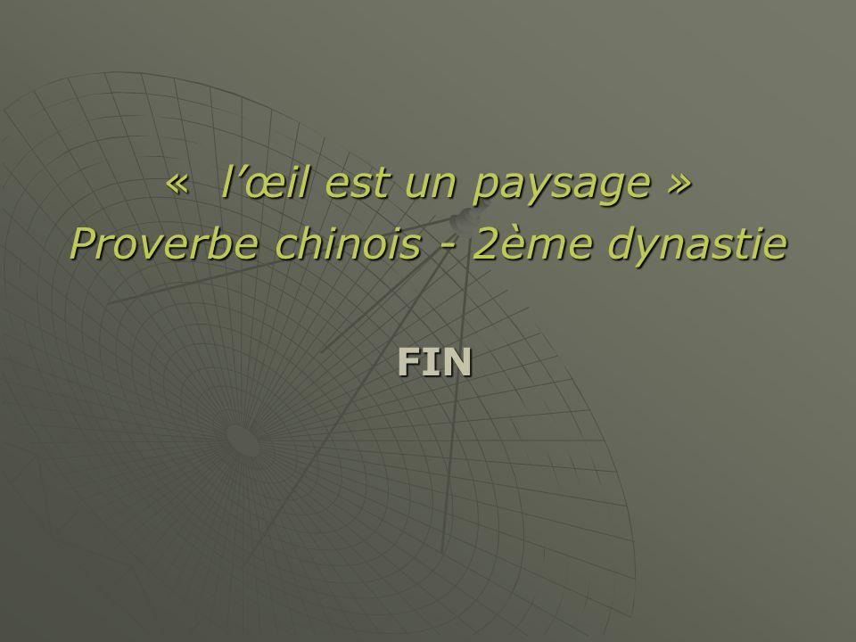 « lœil est un paysage » Proverbe chinois - 2ème dynastie FIN FIN