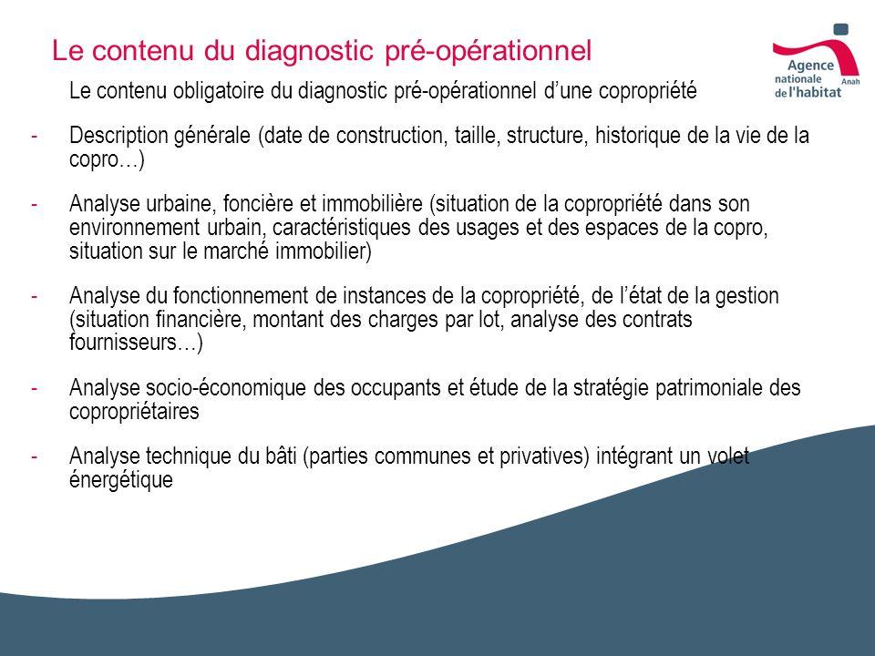 Le contenu du diagnostic pré-opérationnel Le contenu obligatoire du diagnostic pré-opérationnel dune copropriété -Description générale (date de constr