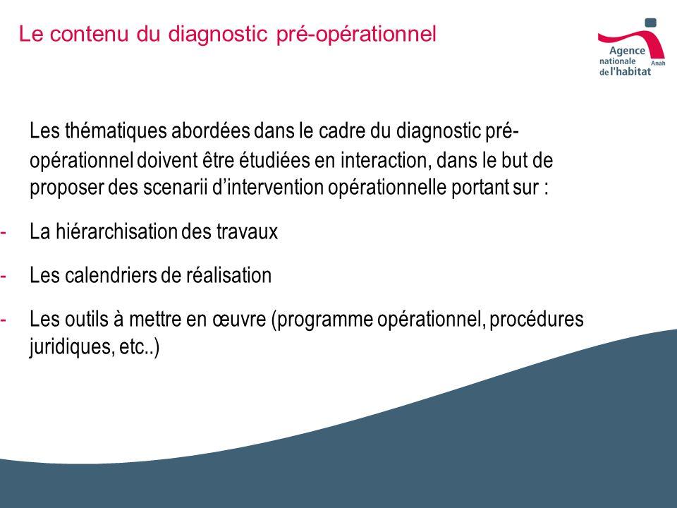 Le contenu du diagnostic pré-opérationnel Les thématiques abordées dans le cadre du diagnostic pré- opérationnel doivent être étudiées en interaction,