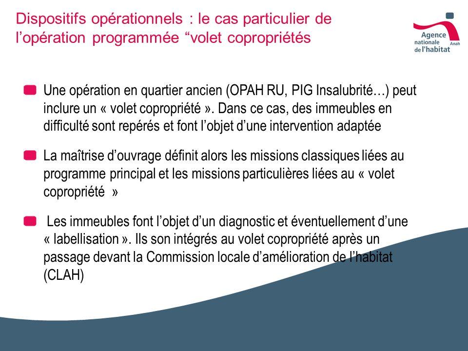 Dispositifs opérationnels : le cas particulier de lopération programmée volet copropriétés Une opération en quartier ancien (OPAH RU, PIG Insalubrité…