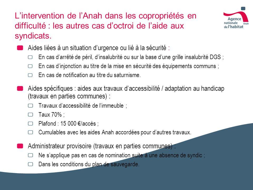 Lintervention de lAnah dans les copropriétés en difficulté : les autres cas doctroi de laide aux syndicats. Aides liées à un situation durgence ou lié